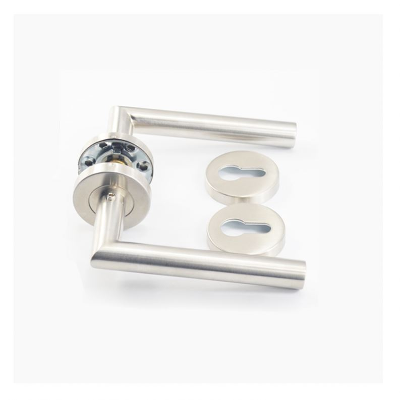 Custom stainless steel solid type fireproof solid lever door handle with rosette