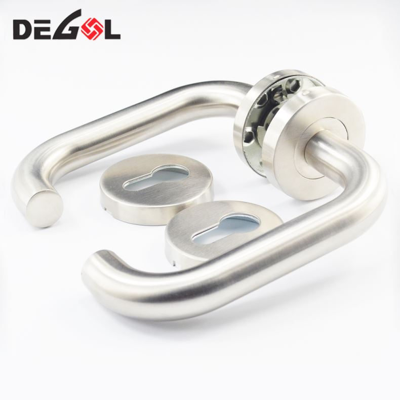 Top quality custom made curved tube lever type heat resistant stainless steel door handle