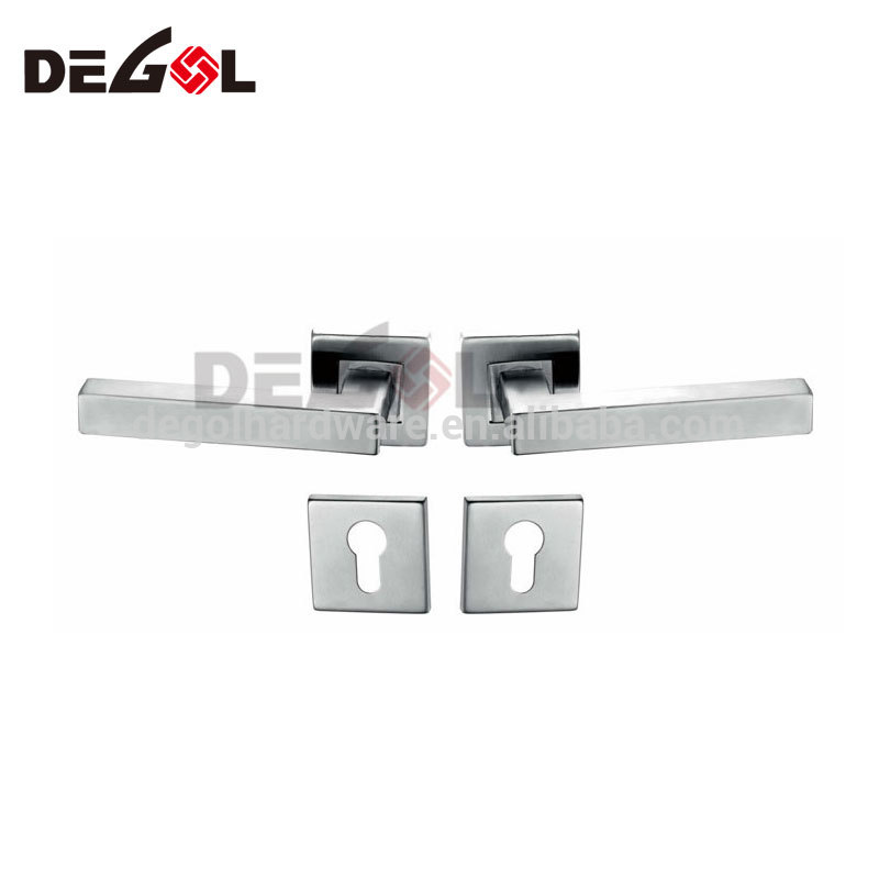 304 stainless steel lever type door handle industrial chrome square door handles