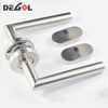 China wholesale stainless steel tube lever antique door handles brass