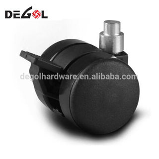 Plastic small black wheel decorative furniture casters with brake