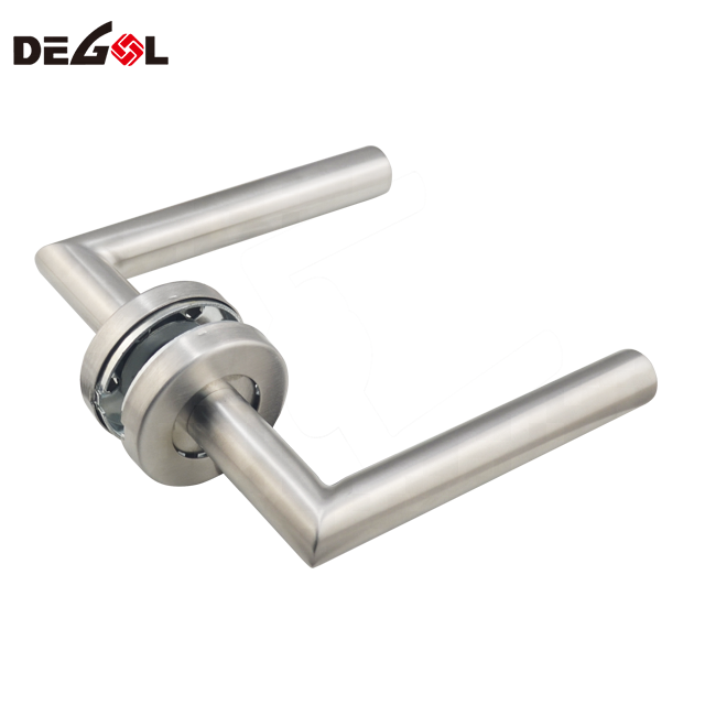 Right Angle Tube Lever Round Rosette Door Lever Handle
